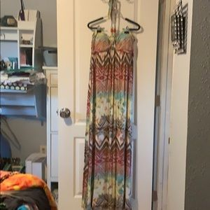 Multicolored maxi dress with halter style tie